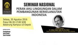 Seminar Nasional Peran Ahli Lingkungan Dalam Pembangunan Berkelanjutan Indonesia
